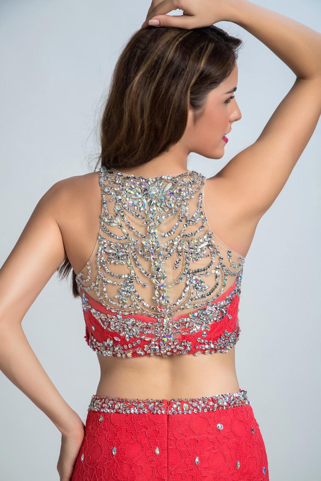 Sexy robe deux pièces strassée & brodée sirène en dentelle exotique
