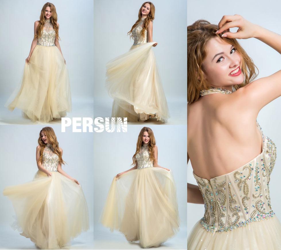 tenue robe bal princesse champagne ornée de bijoux & col montant