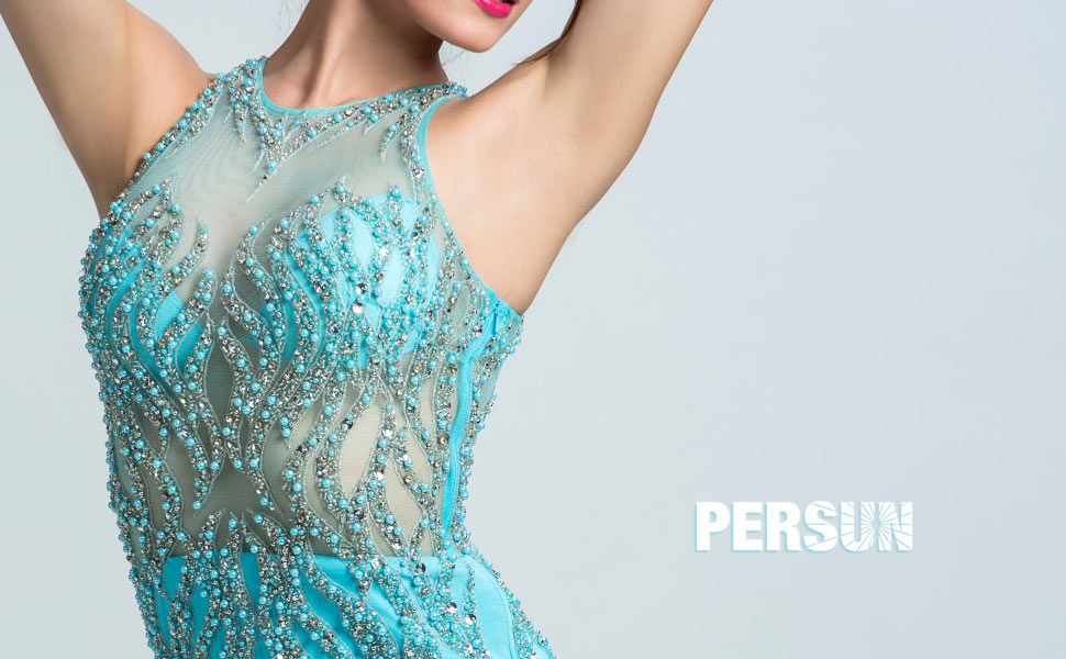 Robe chic robe bleue de bal fille ornée de bijoux bling-bling