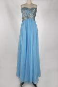 Chic Herz-Ausschnitt A-Linie Bodenlanges blaues Abendkleider aus Chiffon