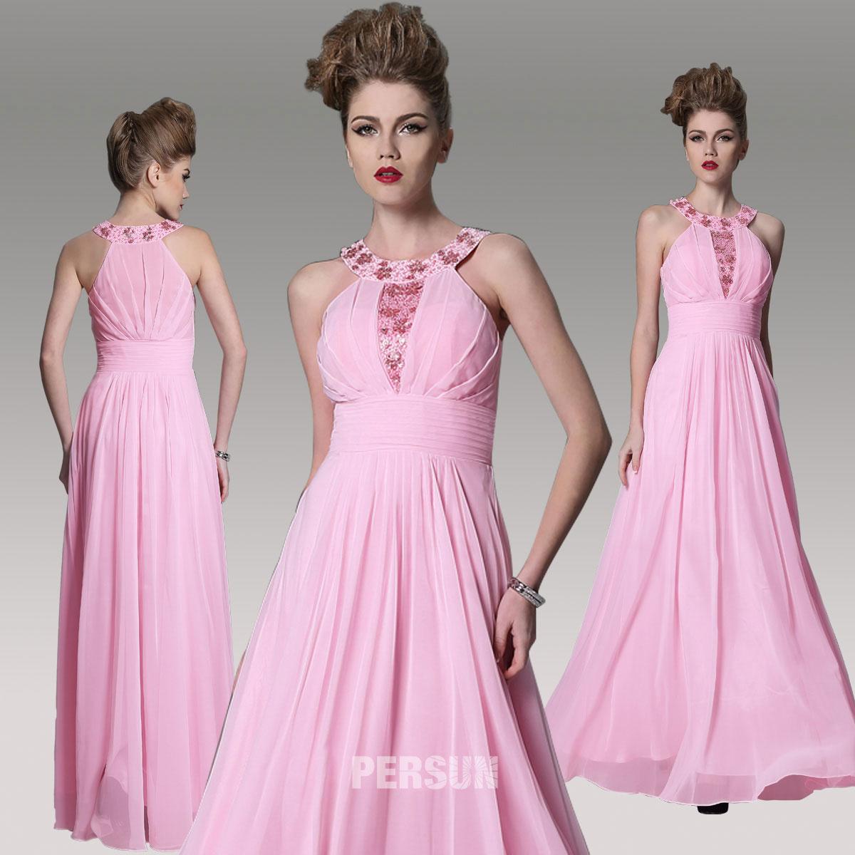 robe de gala rose en mousseline longue au sol