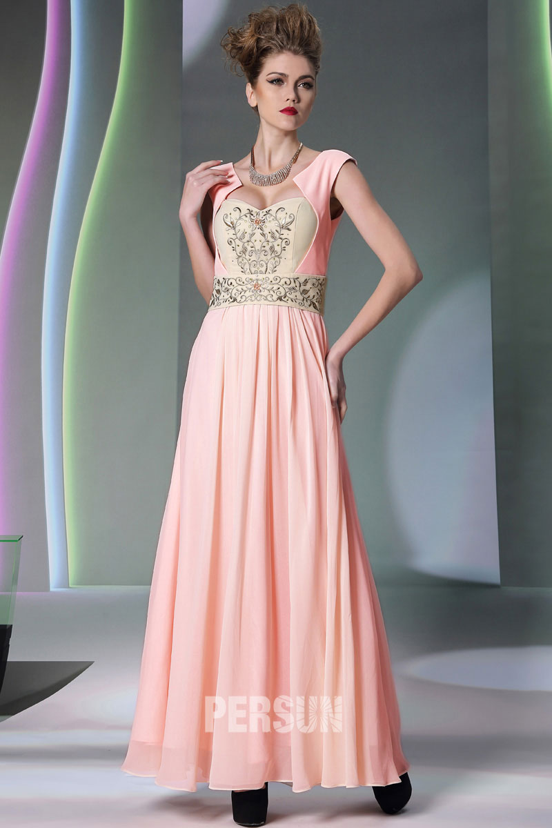 Vintage robe soirée longue ornée de broderie - Persun.fr addee90842ae