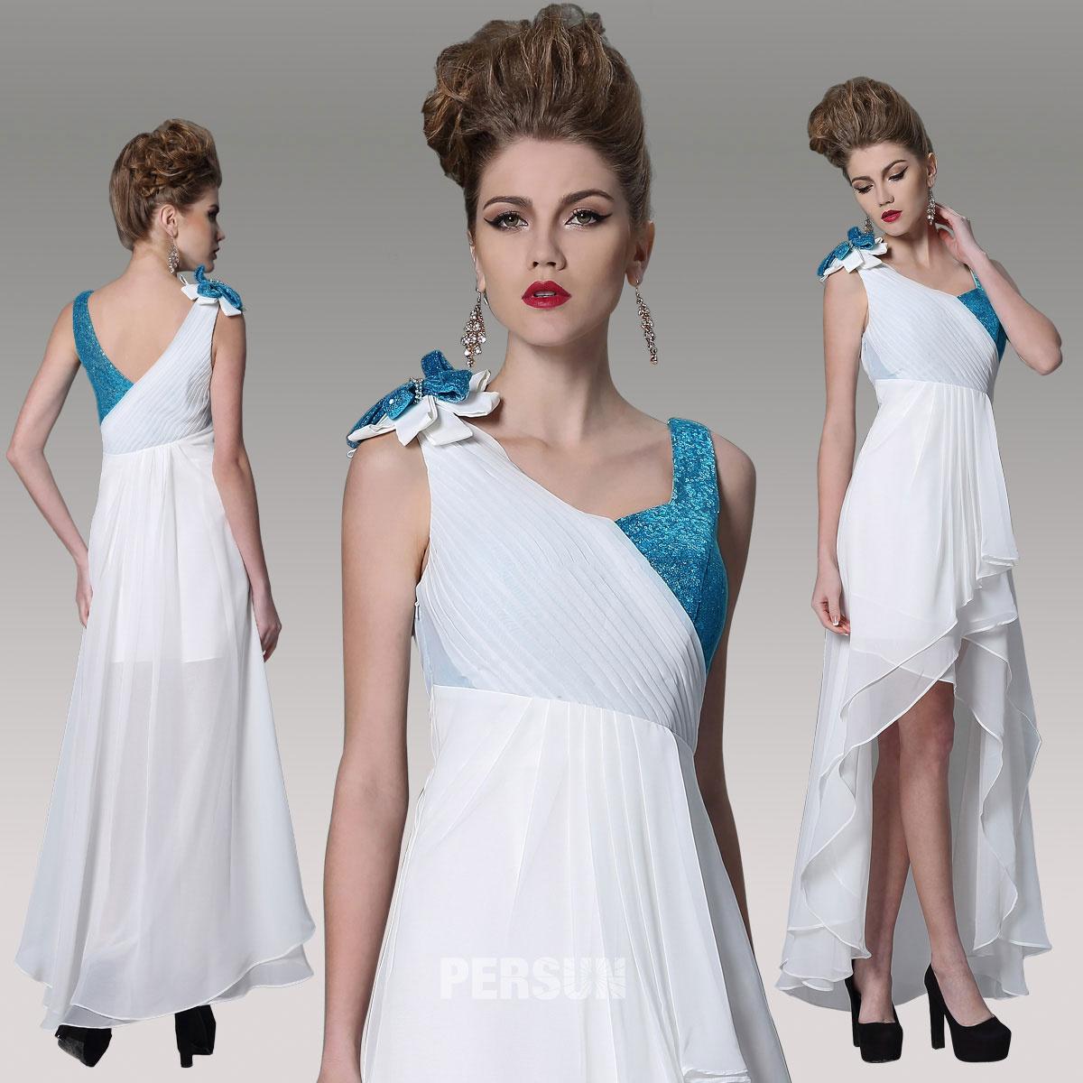 robe de soirée color block blanc & bleu