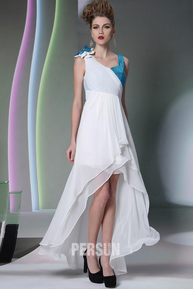 Robe bicolore à col en V courte devant longue derrière