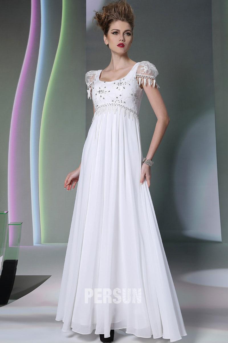 897bb494a156 Elégante robe blanche longue à manche courte - Persun.fr