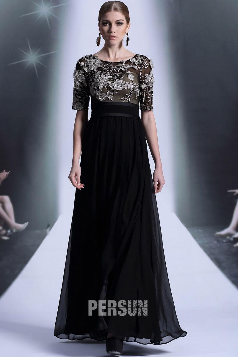 15318f0d0dc7 Robe soirée longue noire Empire à manche courte - Persun.fr