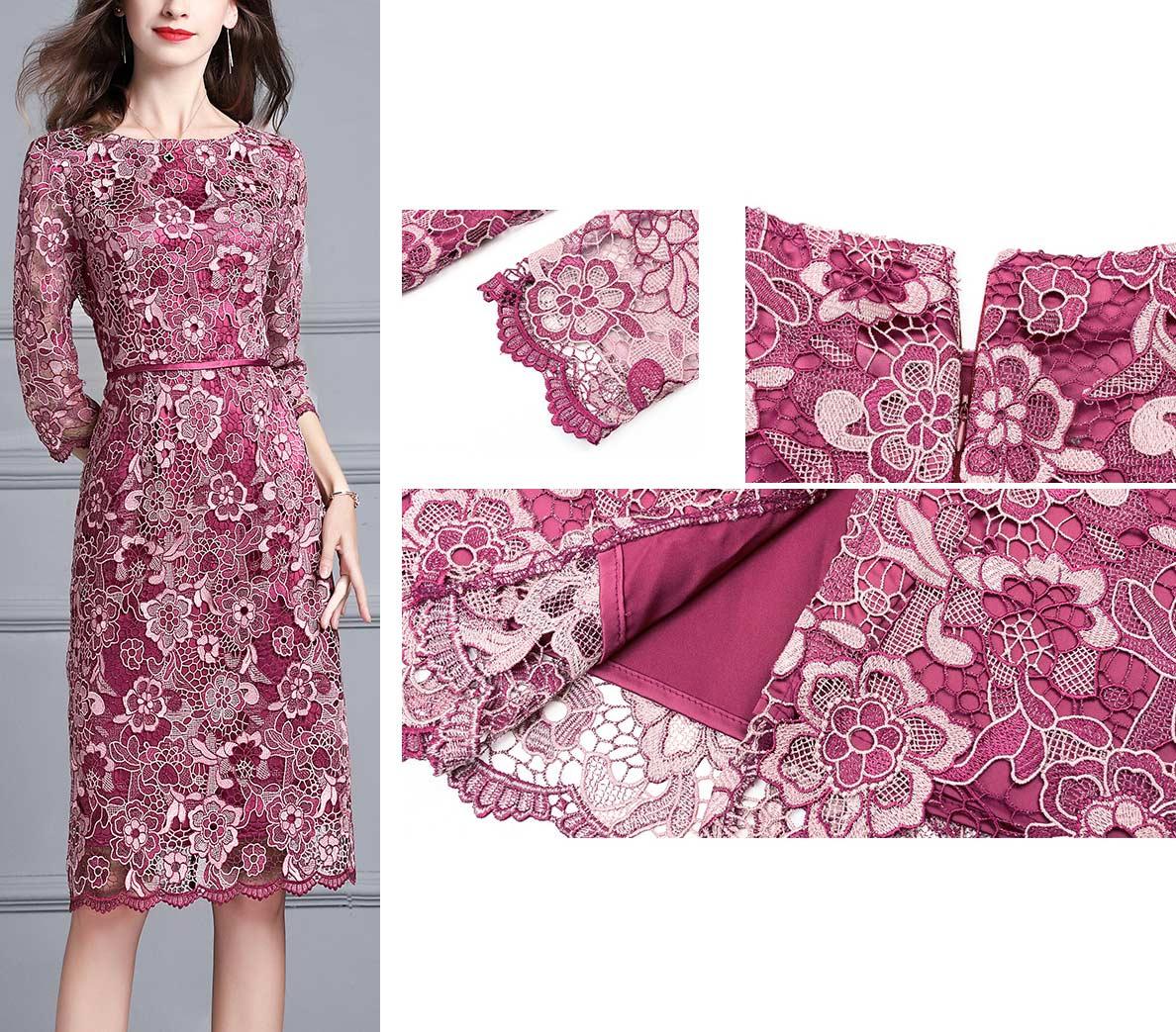 robe cocktail rose fuchsia dentelle avec manches pour mètre de marié au mariage 2019