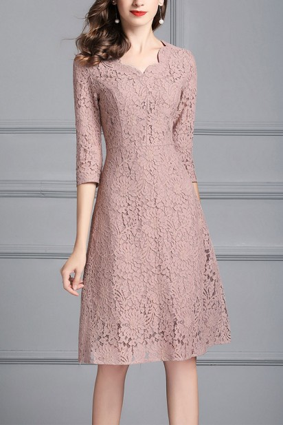 Short Wedding Guest Dress in Lace Pink Suede