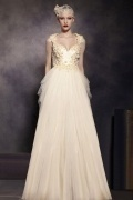 Champagne Tone Flower V neck Sleeveless Tulle Floor Length Formal Dress