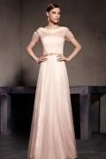 Short Sleeves Tulle Flower Scoop Zipper Floor Length Prom Dress