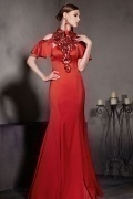 Gorgeous Red Satin Trumpet Short Sleeves Floor Length Formal Dress