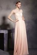 Elegantes A-Linie rosa langes Ärmelloses Chiffon Abendkleid