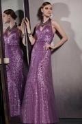 Sexy Lila Halter A Linie Langes Ärmellos Sequins Rückenfreies Abendkleider