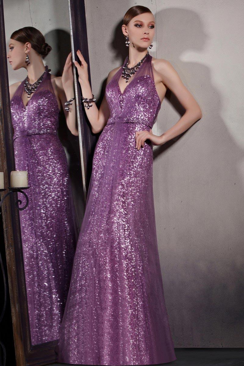 Sexy Robe de soirée sequins violette à col halter & dos nu
