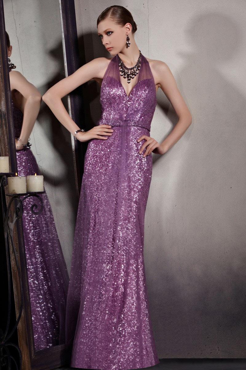 robe de soirée longue violette en paillettes col halter