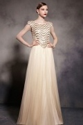 Chic Champagne Tone Cap Sleeves Embroidery Tulle Floor Length Formal Dress