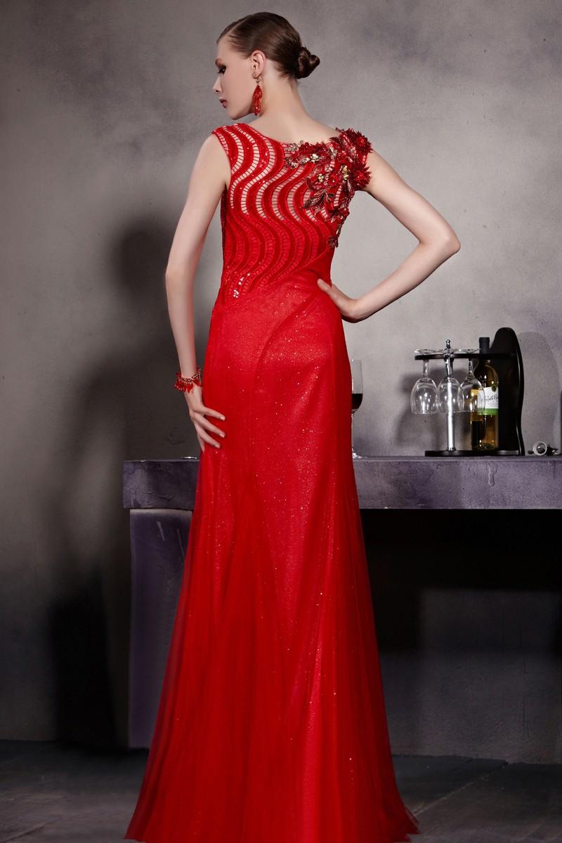 Robe soirée rouge longue ornée de fleur fait-main