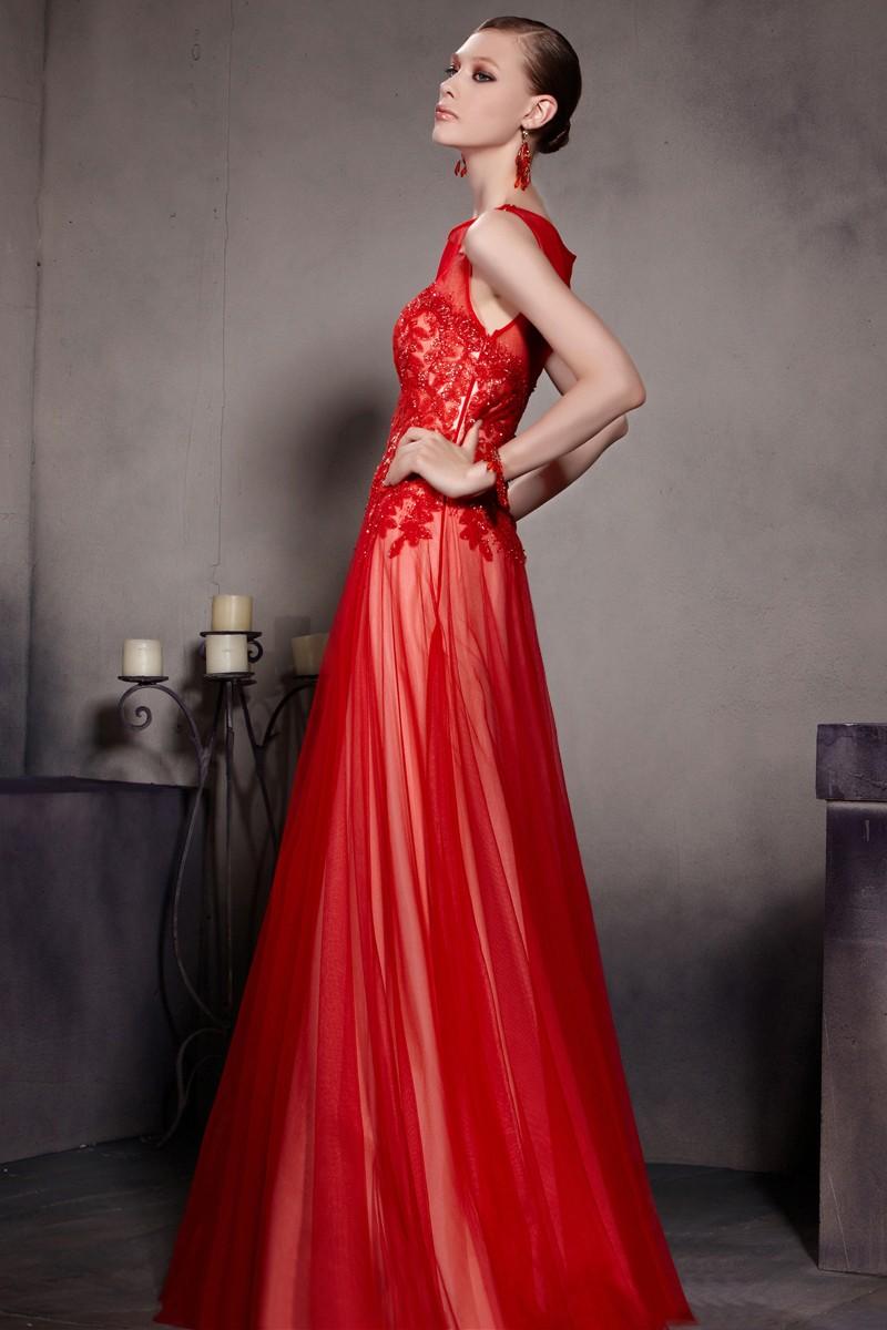 Robe soirée longue en tulle et dentelle rouge