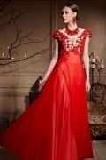 Sexy Red Appliques Backless Cap Sleeves Chiffon Long Prom Dress