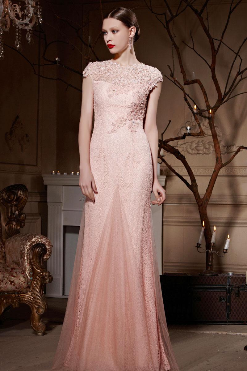 a2edba5c6b5 Robe rose nude pour cocktail de mariage coupe trompette - JMRouge.fr