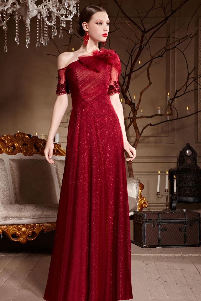 Unique Robe soirée longue asymétrique en tulle bordeaux