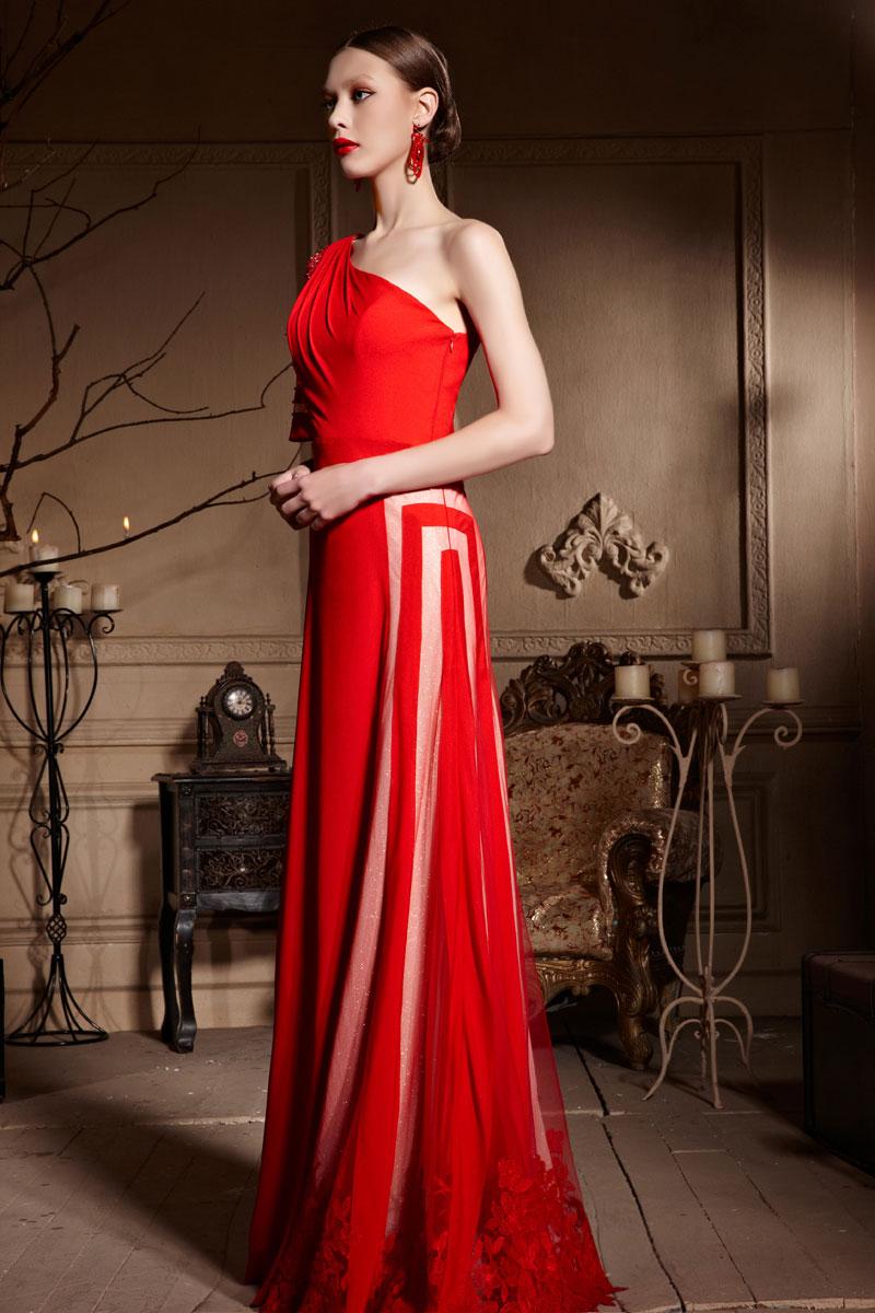 Unique Robe de cérémonie rouge asymétrique longue bloc couleur