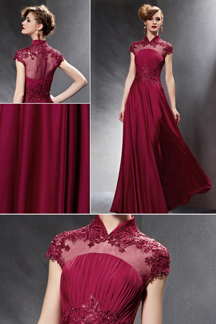 robe de soirée rouge bordeaux modeste col montant travaillé de guipure