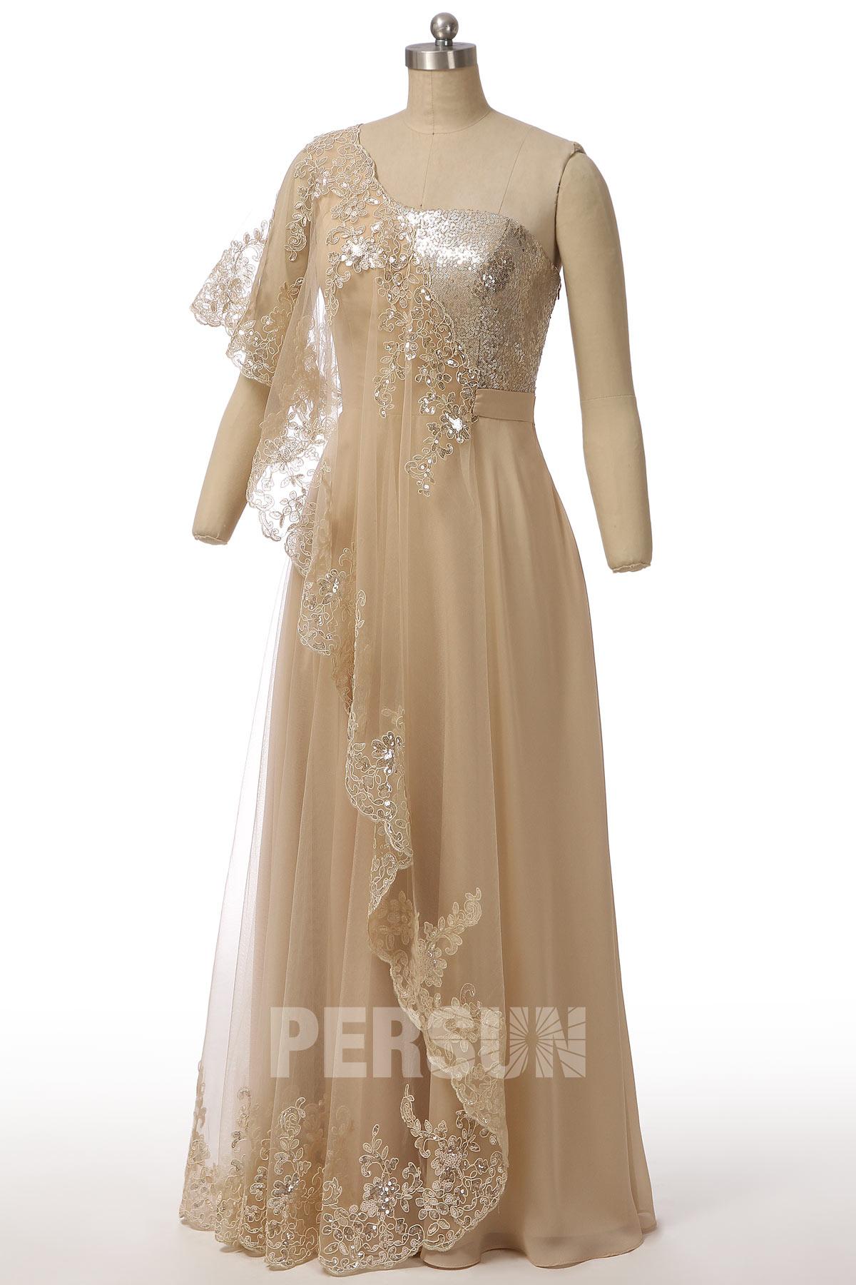 robe de soirée champagne asymétrique appliquée de dentelle et de sequins
