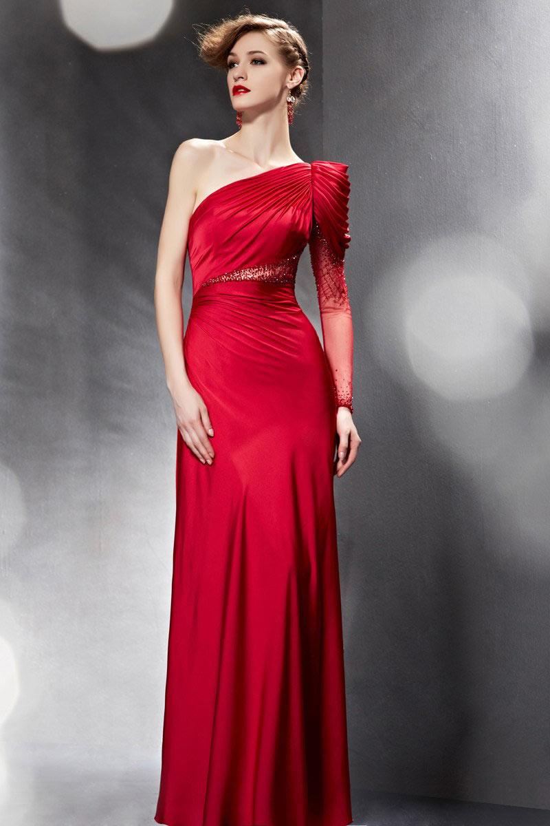 Rouge robe de soirée colonne plissé à seule manche longue