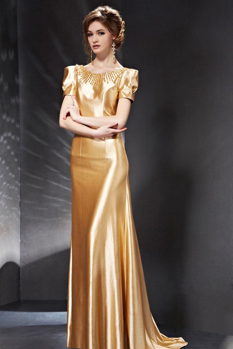 c8d784fef1f Robe de soirée dos nu dorée à l épaulette - Persun.fr