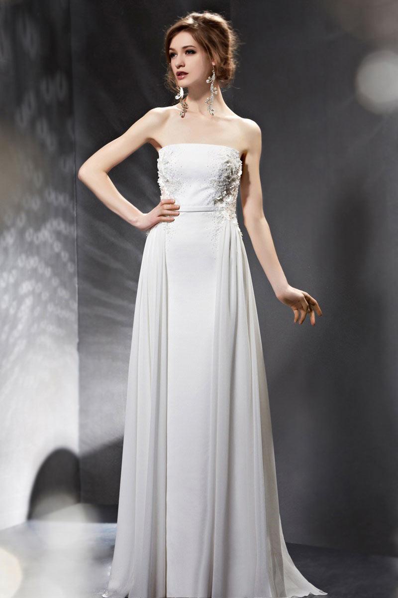 robe de soirée longue élégante blanche bustier droite embelli de fleur fait-main