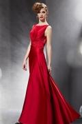 Robe pour soirée rouge ceinturée en bijoux avce dos transparent