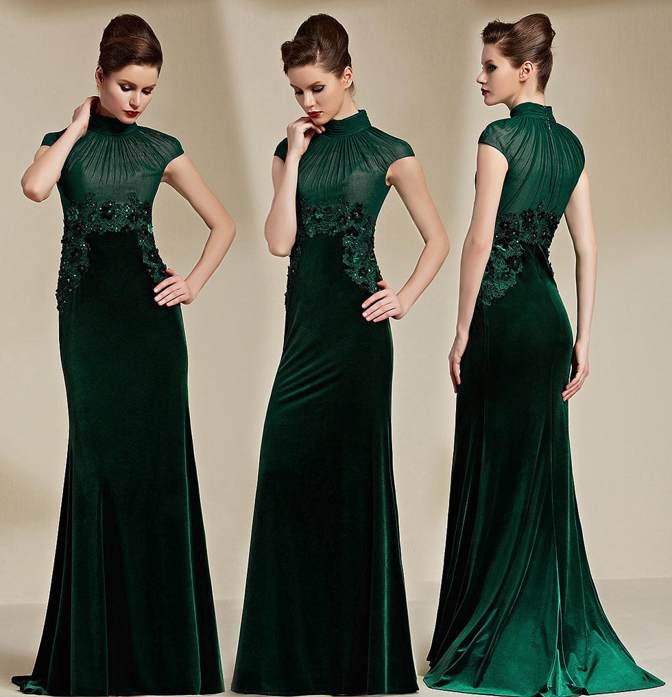 robe de soirée longue vert col haut en dentelle appliquée florale à mancherons