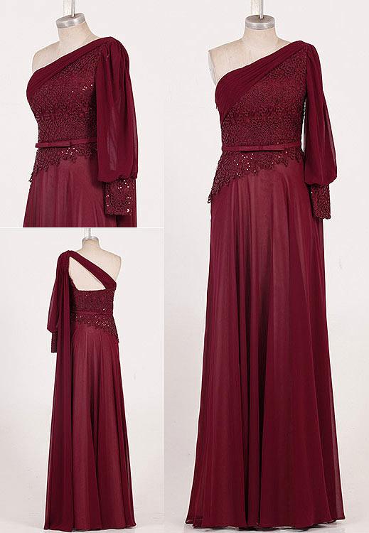 Robe bordeaux asymétrique magnifique appliquée de dentelle & paillettes