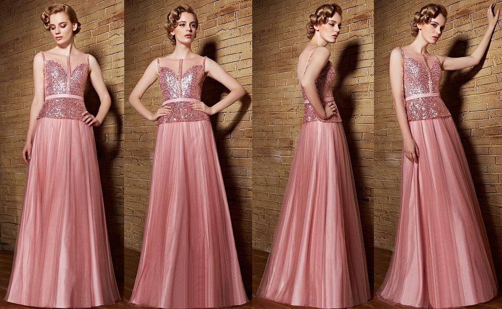 robe soirée longue en tulle vieux rose à haut sequins et strass