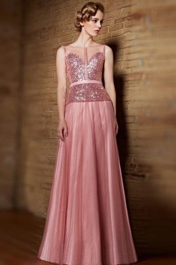 Robe de bal de promo en tulle vieux rose à haut sequins et strass