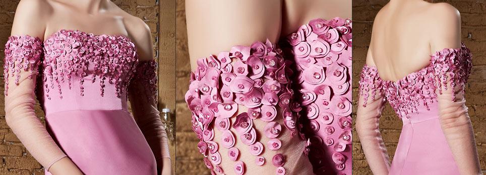 robe gala rose sexy dénudée à haut brodé de sequins