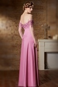 Gorgeous Fuchsia Long Off Shoulder Flowers Evening Dress with Sleeves