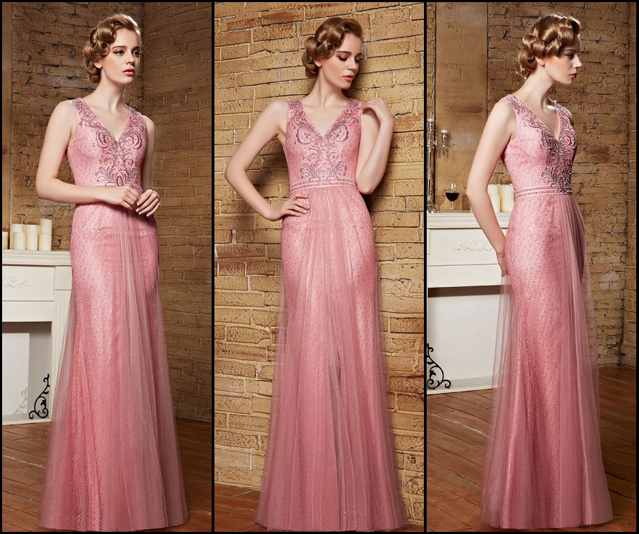 robe de gala longue rose col v brillante