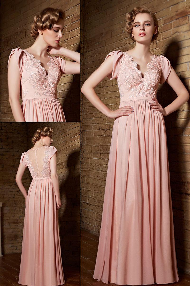 robe longue rose à haut en dentelle et dos transparent avec mancherons pour mère de mariée