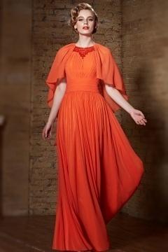 Robe cérémonie orange ruchée avec cape