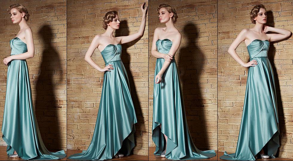 robe de soirée vert menthe courte devant longue derrière bustier plissé
