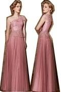 Elegantes A-Linie Ein Schulter Bodenlanges Pink Abendkleid aus Tüll