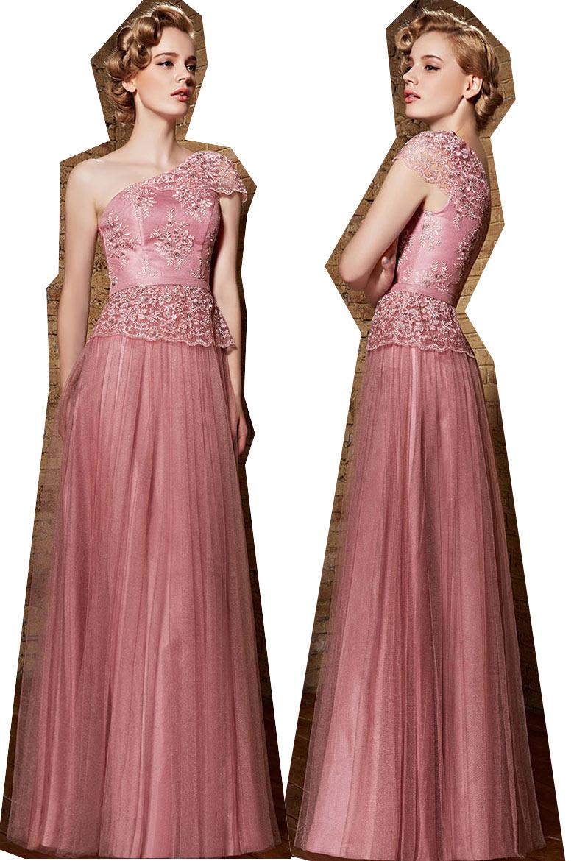 Robe de bal rose asymétrique longue embellie de dentelle appliquée