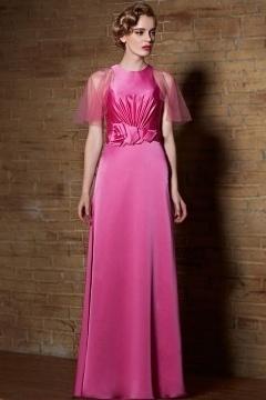 Robe cocktail longue satin rose bonbon avec mancherons en tulle