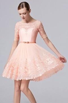 Petite robe rose mignonne en dentelle ajourée pour mariage ...