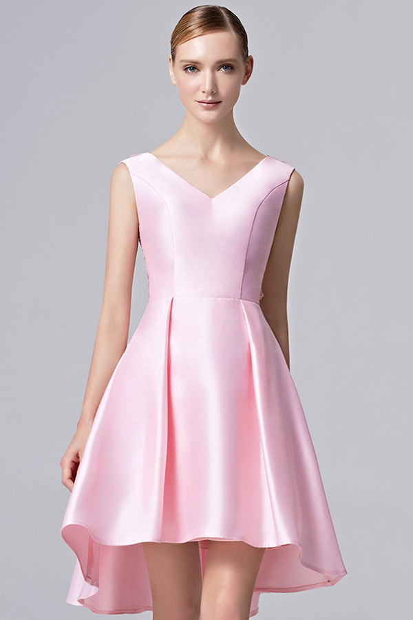 Robe en satin rose
