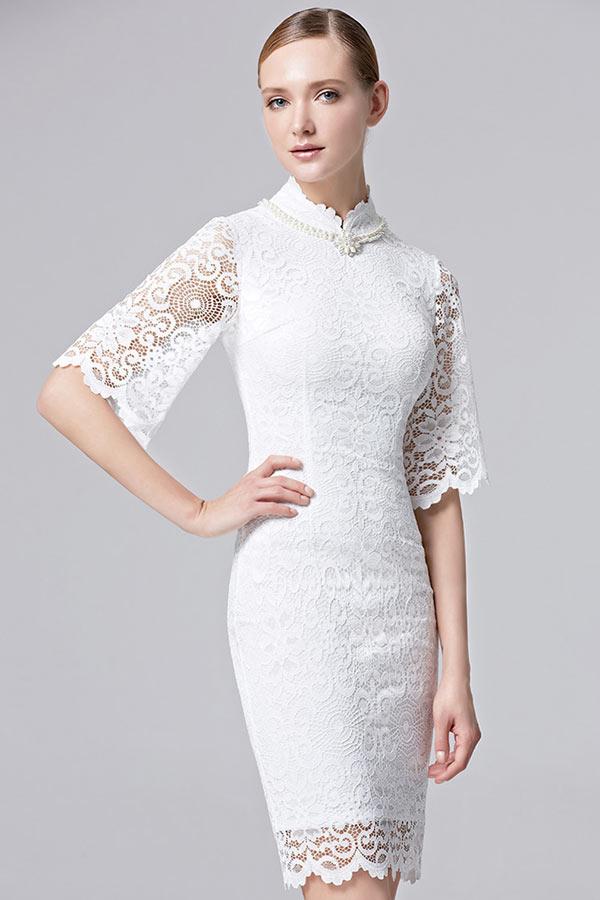 Robe de soiree dentelle blanc
