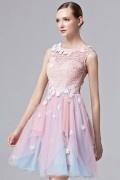 Robe de bal courte rose et bleue fleurie à haut dentelle