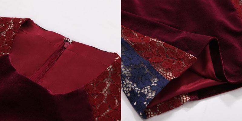 Robe moulante tricolore en velours col rond